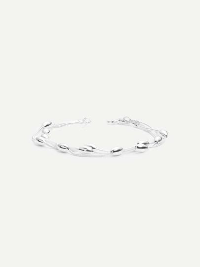 Silver Multilayer Metallic Beads Bracelet