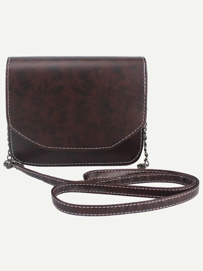 Brown Distressed Faux Leather Flap Bag