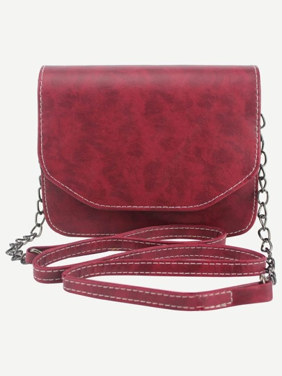 Red Distressed Faux Leather Flap Bag