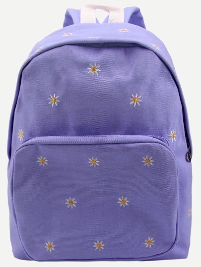 Фиолетовый холщовый рюкзак с принтом Daisy