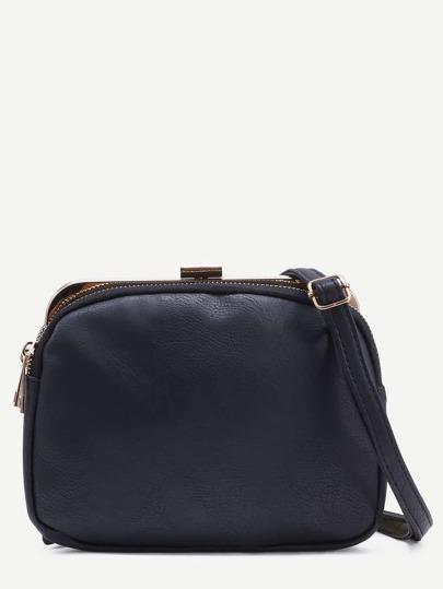Black Layered Clip Frame Crossbody Bag