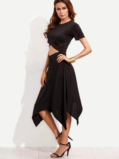 Black Cutout Midriff Asymmetric Dress