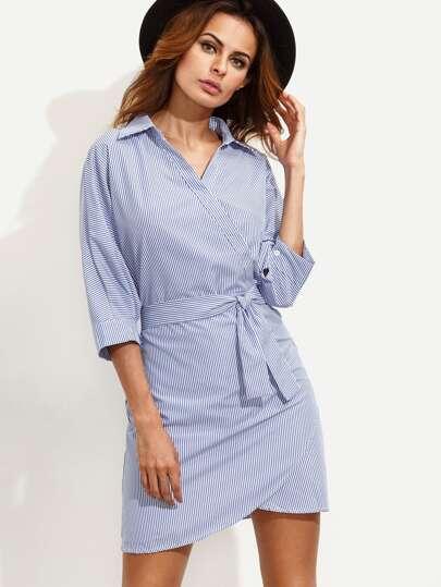 Blue Vertical Striped Wrap Shirt Dress