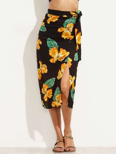 Black Random Flower Print Belted Slit Skirt