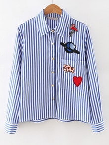 Contrast Striped Embroidered Patches Shirt