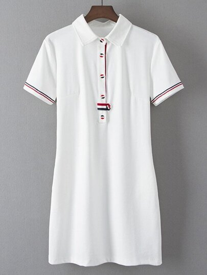 White Lapel Flag Button Casual Dress