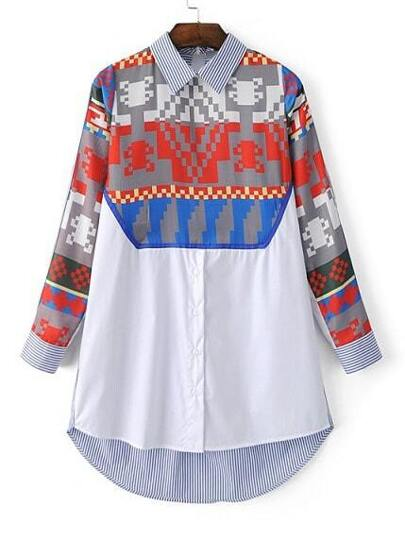 Multicolor Peter Pan Collar Printed High Low Dress