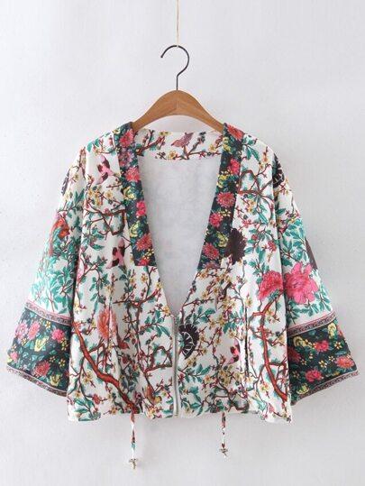 Multicolor Low Neck Floral Zipper Kimono