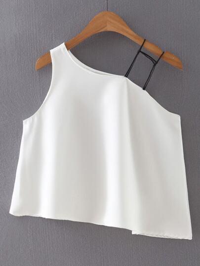 White One Shoulder Asymmetric Top