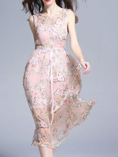 Robe imprimé papillon sans manche avec cordon - rose