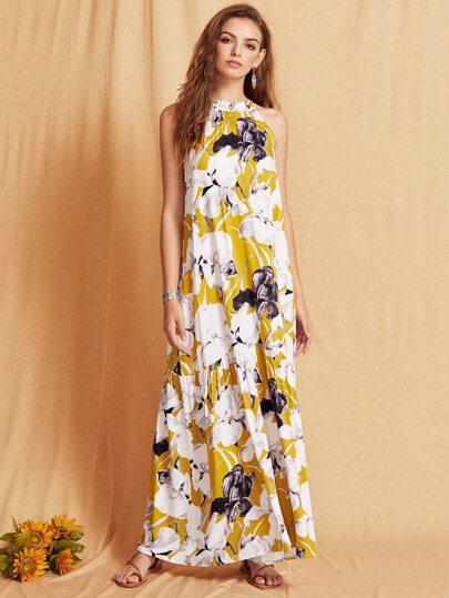 Robe longue motif fleuri sans manche - multicolore
