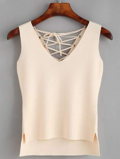 Apricot V Neck Lace-up Tank Top