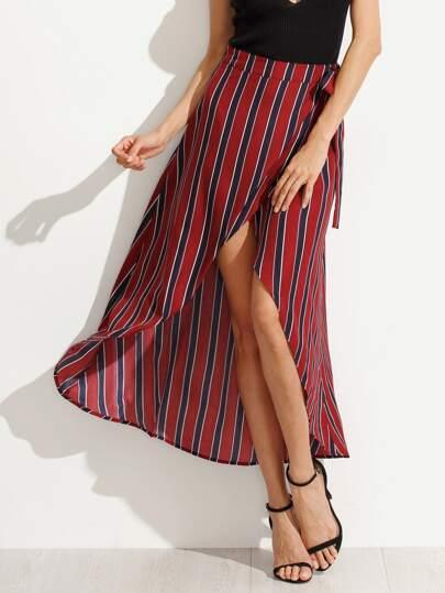 Multicolor Striped Bow Waist Skirt