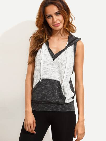 Colorblock V Neck Hooded Tank Top