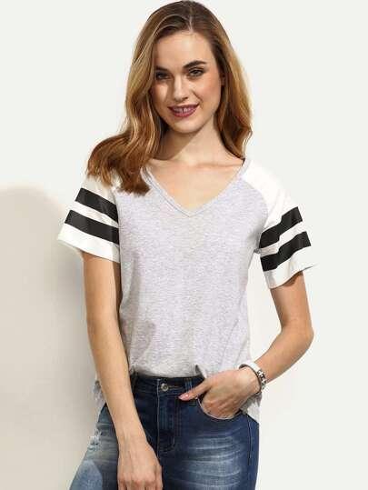 Grey Raglan Short Sleeve T-shirt