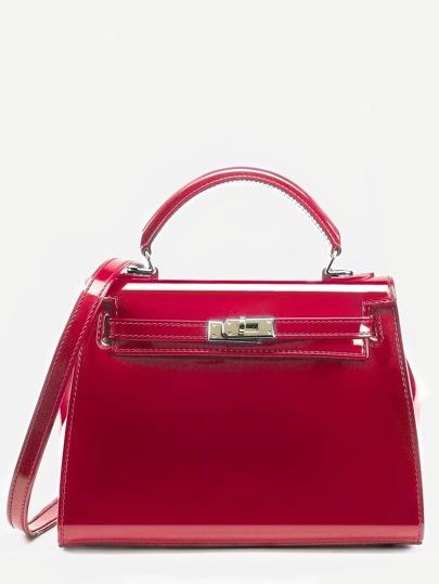 Red Turnlock Strap Closure Plastic Satchel Bag