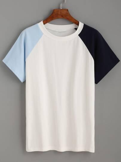 White Contrast Raglan Sleeve T-shirt