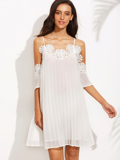 White Cold Shoulder Appliques Pleated Shift Dress