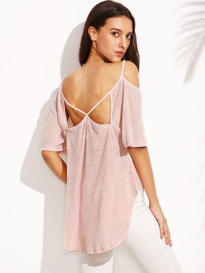 Pink Cold Shoulder Hollow Back High Low T-shirt