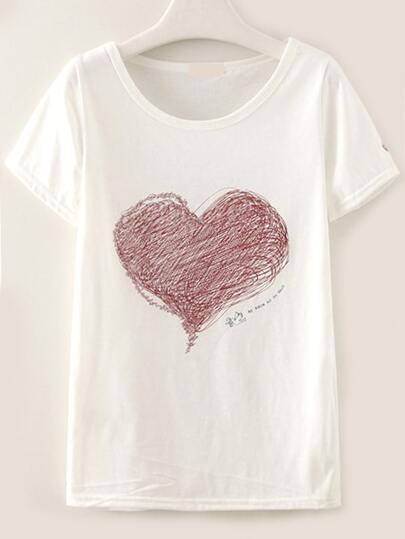 White Heart Drawing Print T-shirt