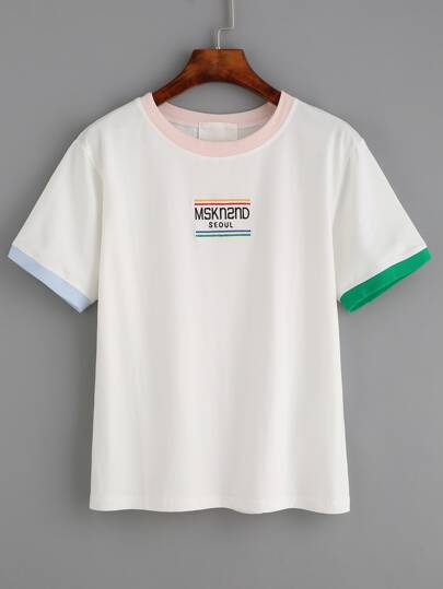White Letter Embroidered Contrast Trim T-shirt