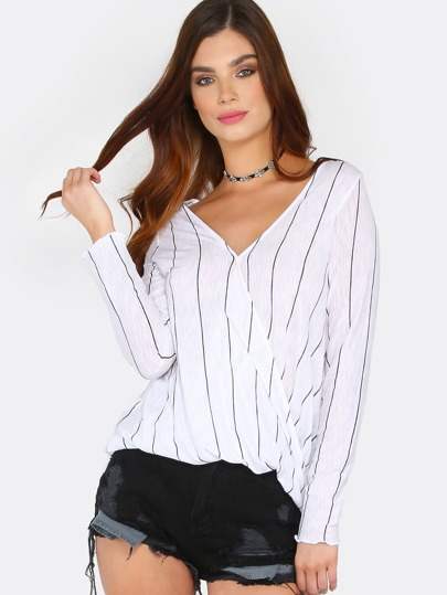 Overlap Stripe Long Sleeve Top WHITE