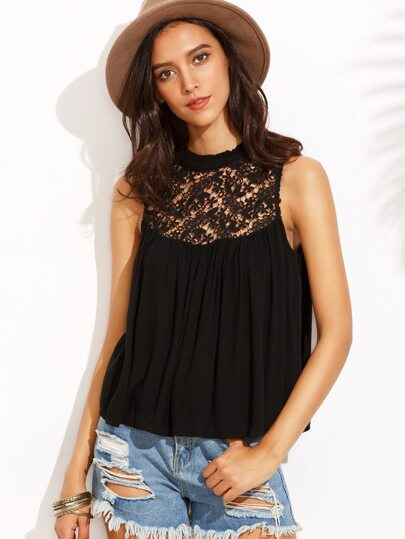 Black Crochet Insert Chiffon Top