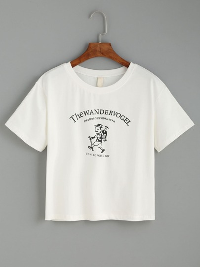 White Hiking Man Print T-shirt
