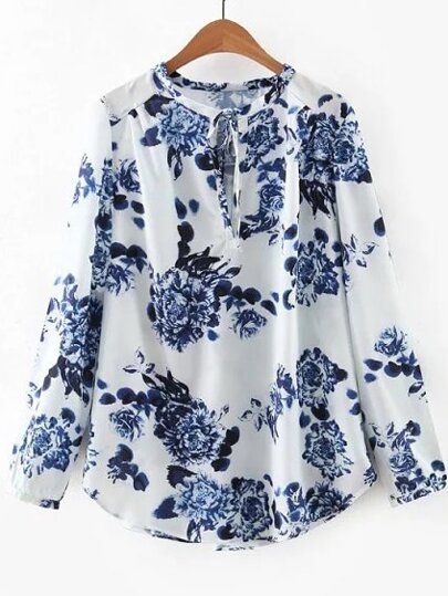 White Floral Tie Neck Blouse