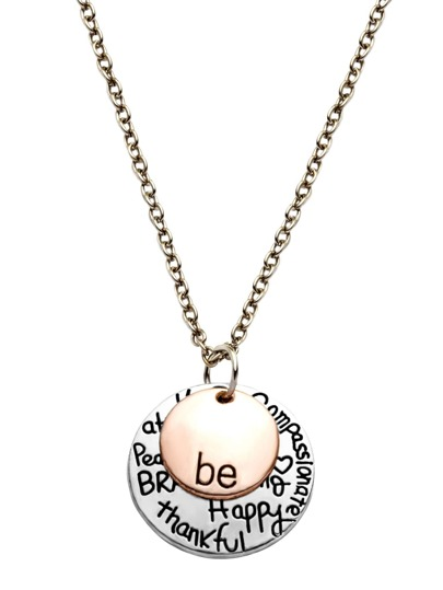 Gold And Silver Letter Etched Round Pendant Necklace