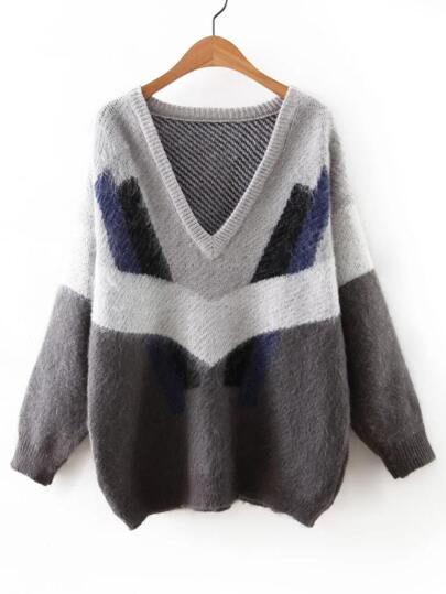 Multicolor V Neck Elastic Cuff Sweater