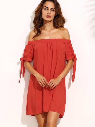 Red Off The Shoulder Bow Tie Cuff Shift Dress