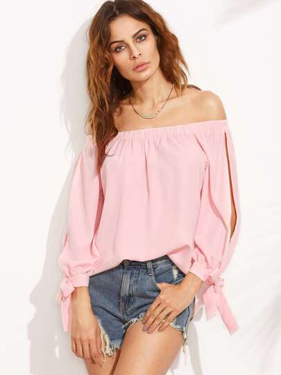 Pink Split Sleeve Tie Cuff Off The Shoulder Blouse
