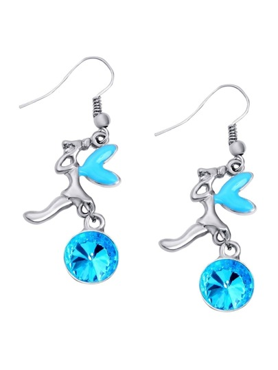 Blue Rhinestone Fairy Drop Earrings