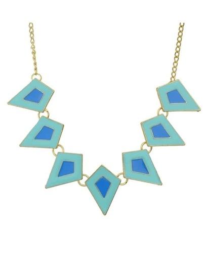 Blue Enamel Geometric Statement Necklace