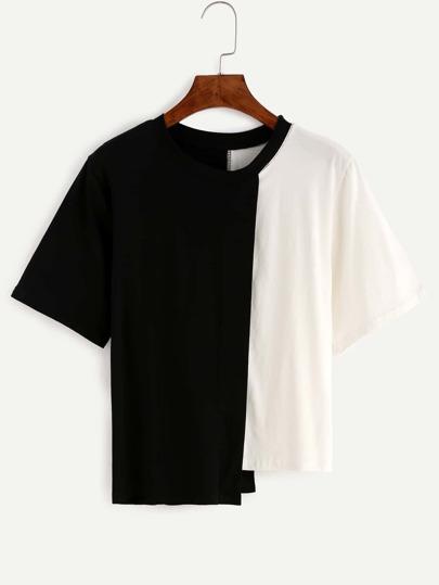 Contrast Panel Asymmetric T-shirt