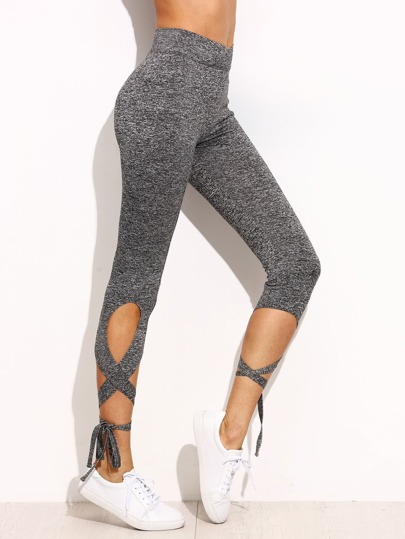 Light Grey High Waist Criss Cross Tie Leggings