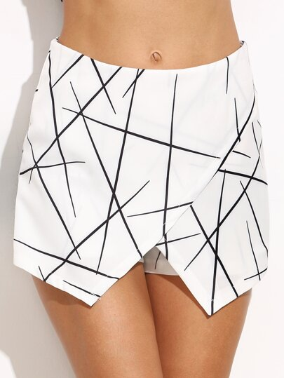 White Geometric Print Wrap Shorts