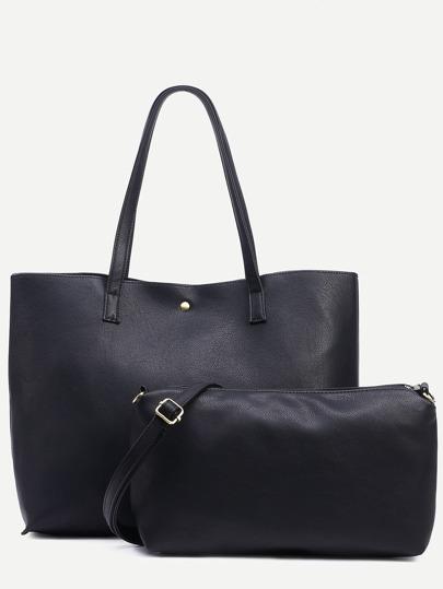 Shopping bag en similicuir avec pochette  - noir