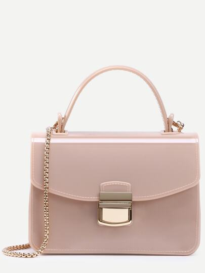 Apricot Pushlock Closure Plastic Handbag With Chain
