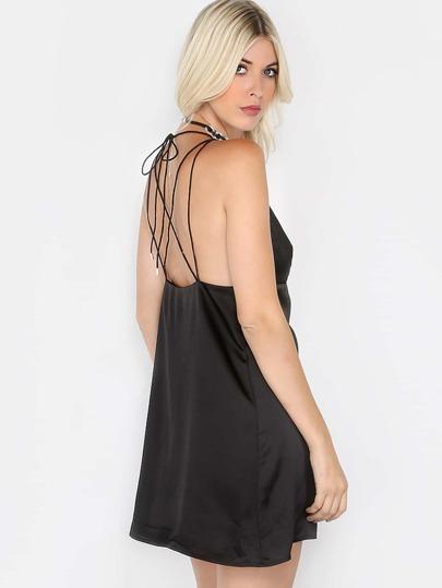 Babydoll Silky Slip Dress BLACK