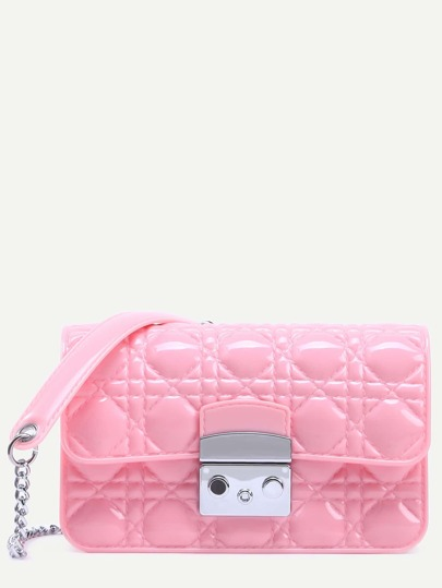 Pink Quilted Plastic Flap Bag With Chain Strap