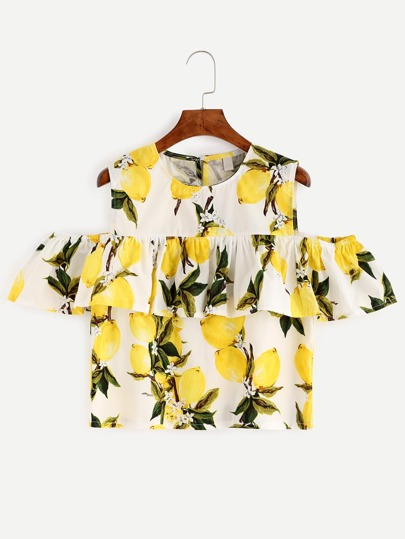 White Lemon Print Cold Shoulder Ruffle Top