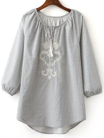 Grey Tie Neck High Low Stripe Blouse