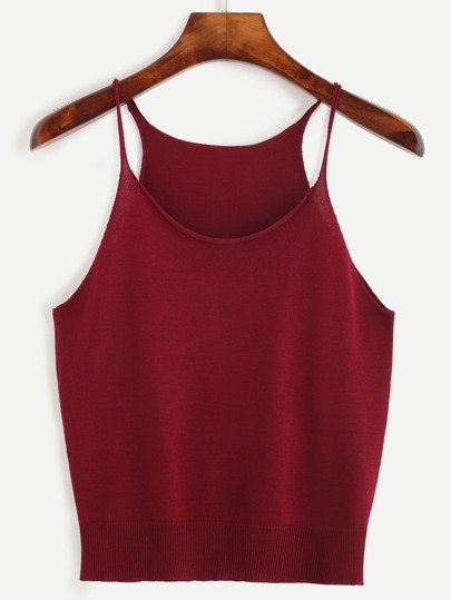 Burgundy Raw Edge Knit Cami Top