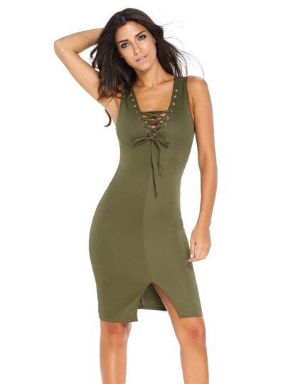Army Green Lace Up Split Front Eyelet Bodycon Dress