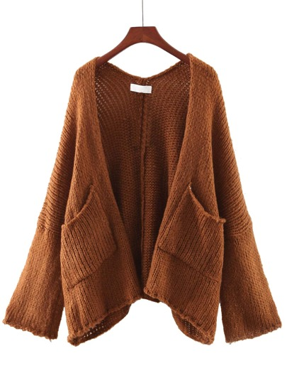 Brown Long Sleeve Pocket Cardigan