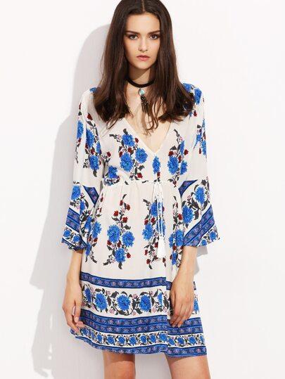 Blue Flower Print Double V Neck Bell Sleeve Dress
