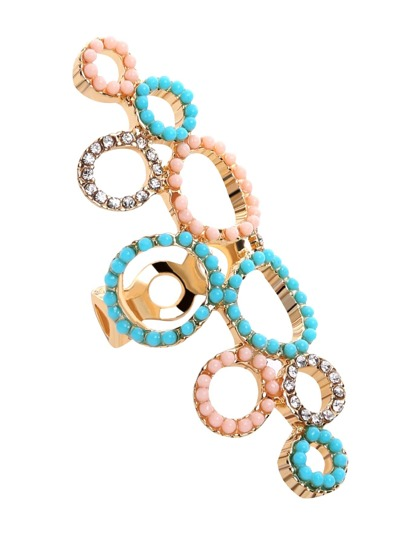 Multicolor Rhinestone Beaded Hollow Out Ring