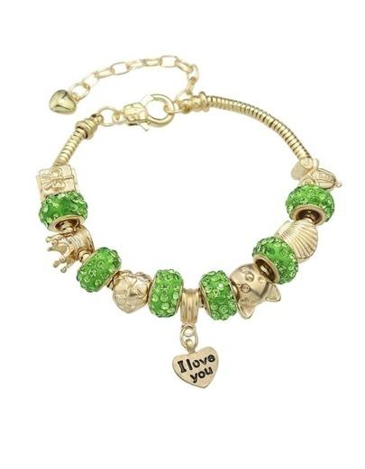Green Rhinestone Beads Charms Bracelet